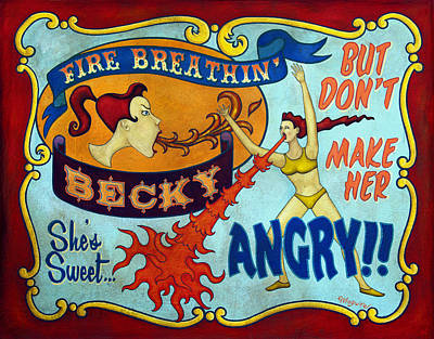 Juxtapose Painting - Fire Breathin' Becky by Molly McGuire
