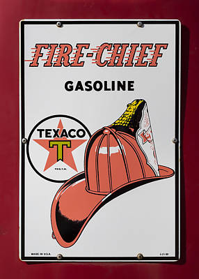 Old Texaco Gas Station Photograph - Fire-chief Sign by Stephen Stookey