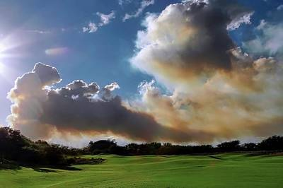 Fire Clouds Over A Golf Course Art Print