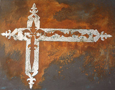 Iron Cross Painting - Fire Cross by Maria Boudreaux