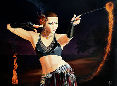 Firedancer Painting - Fire Dancer by Tina Greenfield