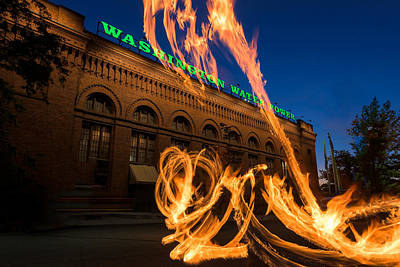 Fire Dancers In Spokane W A Art Print by Steve Gadomski