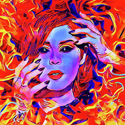 Fire Demon Woman Abstract Fantasy Dark Goth Art Art Print by Elizavella Bowers