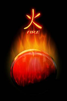 Digital Art - Fire Elemental Sphere by John Wills