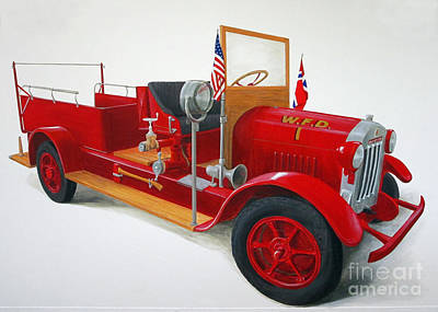 Old Fire Trucks Painting - Fire Engine #1 by Sarah Pederson