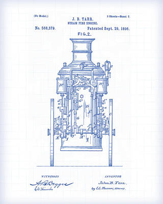 Painting - Fire Engine Patent by Gary Grayson