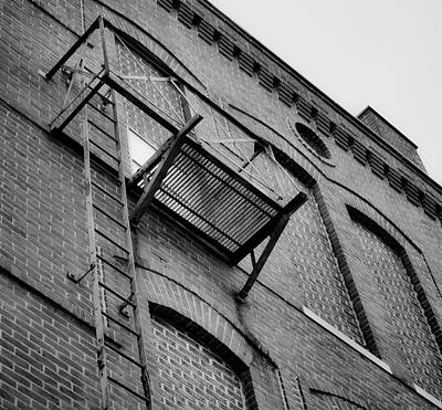 Photograph - Fire Escape And Brick In B/w by Greg Jackson