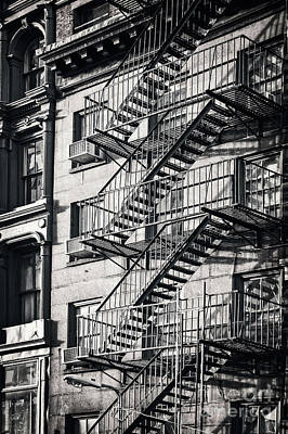 Cities Royalty-Free and Rights-Managed Images - Fire escape black and hwi by Delphimages Photo Creations