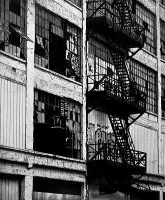 Abandoned Building Drawing - Fire Escape by Cynthia Canada