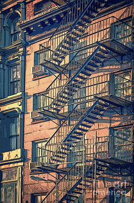 Cities Drawings - Fire escape by Delphimages Photo Creations