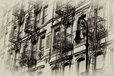 Photograph - Fire Escapes And Street Lamp by Cate Franklyn