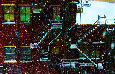 Photograph - Fire Escapes In The Snow by Susan Vineyard