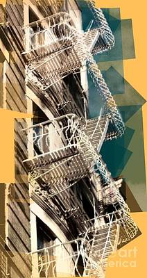 Photograph - Fire Escapes In White And Gold by Miriam Danar