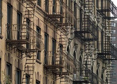 Story-1920s Photograph - Fire Escapes On Brownstone Apartment by Everett