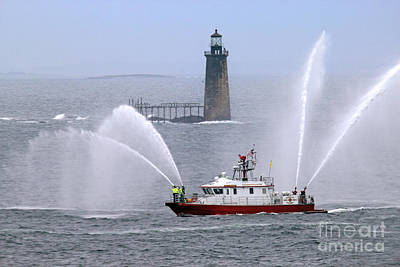 Go For Gold Rights Managed Images - Fire Fighting Boat Royalty-Free Image by Jim Beckwith