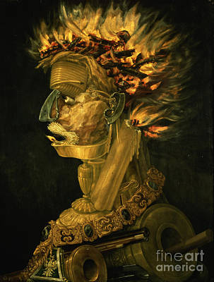 Oil Lamp Painting - Fire by Giuseppe Arcimboldo