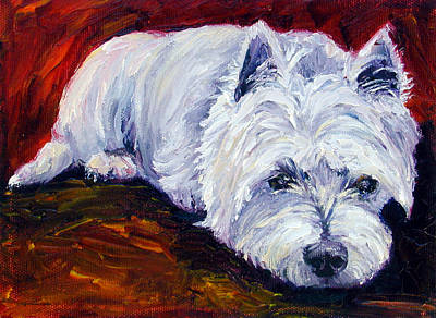 Westie Painting - Fire Glow - West Highland White Terrier by Lyn Cook