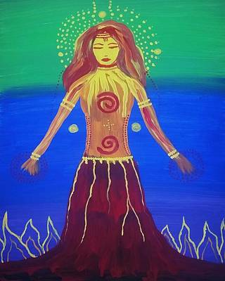 Volcano Goddess Painting - Fire Goddess Rising by Vale Anoa'i