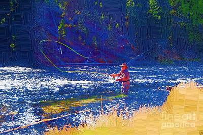 Trout Painting - Fire Hole Dreams by Diane E Berry
