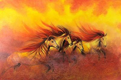 Fire Horses Art Print by Maria Hathaway Spencer