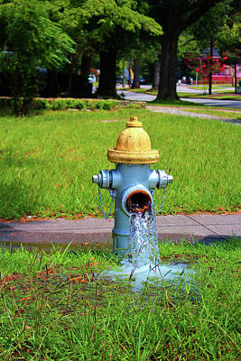 Photograph - Fire Hydrant Gushing Water by Cynthia Guinn