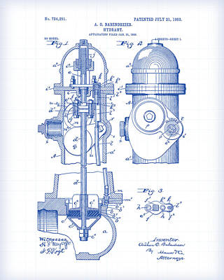 Painting - Fire Hydrant Patent Drawing by Gary Grayson