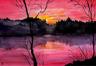 Maine Landscapes Painting - Fire In The Sky    Lake Arrowhead Maine by Brenda Owen