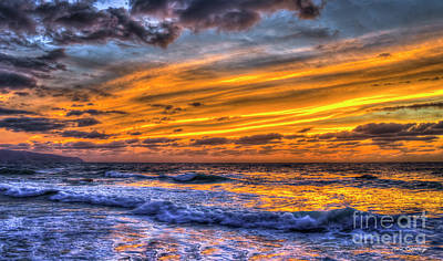 Photograph - Fire In The Sky 2 North Shore Sunset Oahu Hawaii Art by Reid Callaway