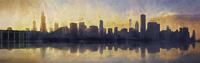 Panorama Digital Art - Fire In The Sky Chicago At Sunset by Scott Norris