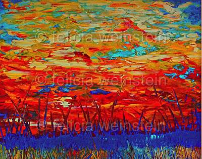 Painting - Fire In The Sky by Felicia Weinstein