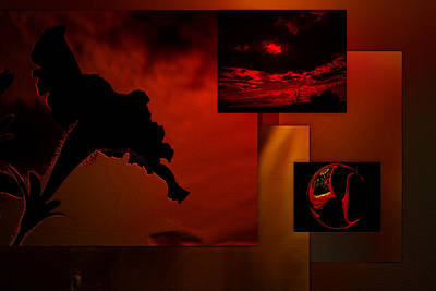 Tryptych Digital Art - Fire In The Sky by Irma BACKELANT GALLERIES