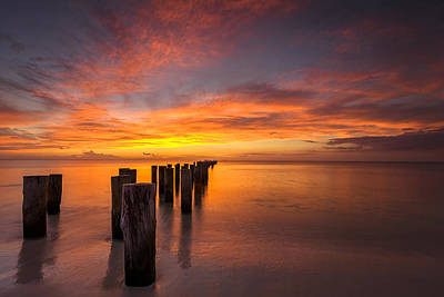 Naples Beach Wall Art - Photograph - Fire In The Sky by Mike Lang