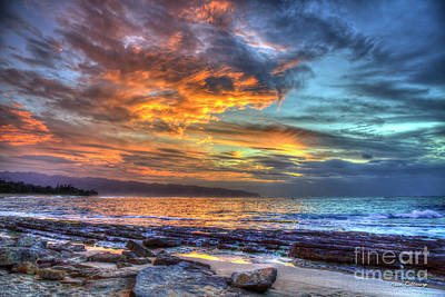 Photograph - Fire In The Sky North Shore Sunset Oahu Hawaii Art by Reid Callaway
