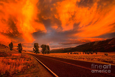 Photograph - Fire In The Sky Over Lamar Valley Road by Adam Jewell