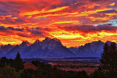 Photograph - Fire In The Teton Sky by Greg Norrell