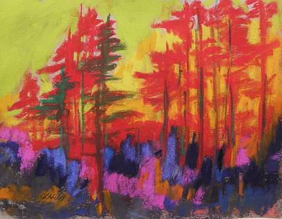 Warm Tones Drawing - Fire In The Trees by John Williams