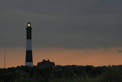 Photograph - Fire Island Light Cloudy Dawn by Christopher Kirby