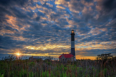 Fire Island Lighthouse At Sunset Art Print