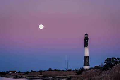 Photograph - Fire Island Lighthouse Moon Rise by Alissa Beth Photography