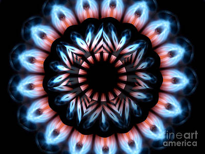 Photograph - Fire Kaleidoscope Mandala Under Star Shaped Glass 2 by Rose Santuci-Sofranko
