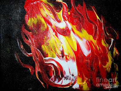 Calgary Flames Painting - Fire 2 by Kim Peto