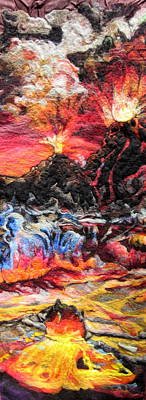 Needle Felting Tapestry - Textile - Fire by Kimberly Simon