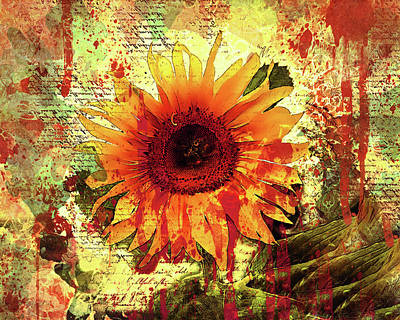 Vibrant Mixed Media - Fire Of A Sunflower by Georgiana Romanovna