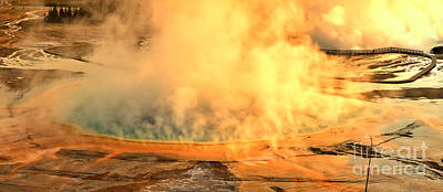Photograph - Fire Over Grand Prismatic by Adam Jewell