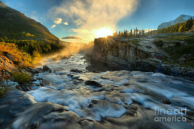 Photograph - Fire Over Swiftcurrent Falls by Adam Jewell