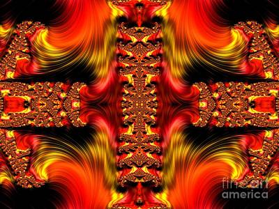 Digital Art - Fire Purifying Gold Fractal Abstract by Rose Santuci-Sofranko