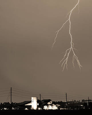 Fire Rescue Station 67  Lightning Thunderstorm 2c Bw Sepia Art Print by James BO  Insogna