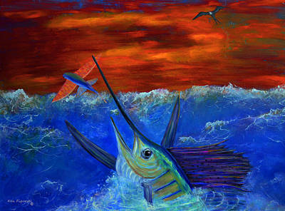 Billfish Painting - Fire Sail by Ken Figurski