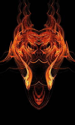 Fire Scull 4 Art Print by Linda Lennea
