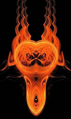 Fire  Scull Art Print by Linda Lennea